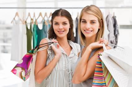 Tjejer och shopping